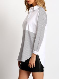 To find out about the Colour-block Lapel Striped Loose Blouse at SHEIN, part of our latest Blouses ready to shop online today! Remake Clothes, Color Blocking, Colour Block, Plain Tops, Mom Outfits, Modern Outfits, Long Tops, Blouse Designs, Dress Skirt