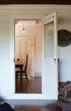 A Rustic Farmhouse and Artist Studio in Pope Valley - Remodelista Interior And Exterior, Interior Design, Interior Door, A Well Traveled Woman, Farmhouse Chic, Restored Farmhouse, Farmhouse Ideas, White Walls, White Wood