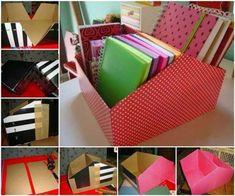 DIY Easy Shoe Box Organizer Good Home DIY diys to do at home - Diy Decorating Diy Simple, Easy Diy, Shoe Box Organizer, Work Desk Organization, Diy Magazine Holder, Recycled Decor, Diy Rangement, Diy Casa, Craft Box