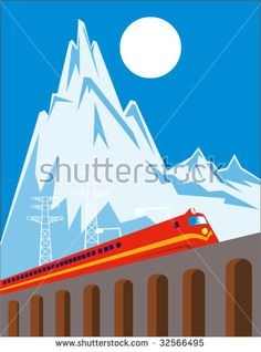 Train coming up a bridge with mountains in the background #train #retro #illustration