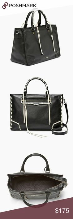 """Rebecca Minkoff Regan Satchel Meet this season's must-have satchel featuring luxe details and seventies vibes. Simple studs, artfully woven fringe and a cool front zipper take this bag next-level while the spacious design stores your daily essentials with ease. This well-crafted bag is complete with a stylish top handle and optional shoulder strap. 14.25""""W x 9""""H x 3.25""""D  Genuine suede leather  Silver hardware  22"""" adjustable removable shoulder strap  1 exterior zipper pockets  Top zipper…"""