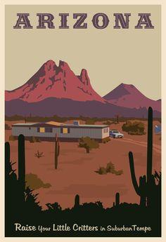 "Vintage Travel poster based on the movie ""Raising Arizona"""