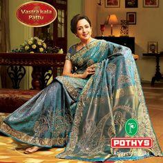 Hema Malini = Potheys Kanchipuram silk signature sarees    designer saree
