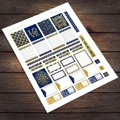Navy & Gold Love Printable Stickers for Erin Condren Life Planner / by VNBDesigns