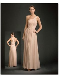 Pleated Chiffon A-line One Shoulder Floor Length Pink Mother of The Bride Dress WBD0031