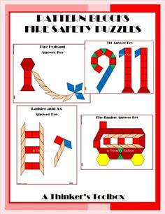 Pattern Blocks Fire Safety Puzzles by A Thinker's Toolbox includes 4 Fire Safety Puzzles; a Fire Engine, Ladder and Ax, Fire Hydrant, and Math Activities, Teacher Resources, Fire Safety Week, Thing 1, Teaching Tips, Creative Teaching, Community Helpers, Pattern Blocks, Halloween