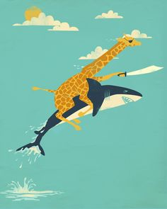 'Onward!' Art Print by Jay Fleck. #Giraffe #Shark