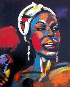 Nina Simone Portrait in Pallet Knife, by Lili Bernard.