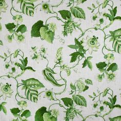 S3187 Lime Welcome Flowers, Greenhouse Fabrics, Green Fabric, Plant Leaves, Lime, Floral Prints, Garden, Plants, Design