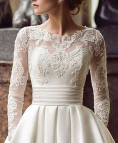 30 Cute Modest Wedding Dresses To Inspire ❤ modest wedding dresses a line with illusion long sleeeves lace blush naviblue Wedding Dress Winter, Sweet Wedding Dresses, Western Wedding Dresses, Wedding Dress Trends, Bridal Dresses, Wedding Gowns, Lace Wedding, Dresses Dresses, Bridesmaid Dresses