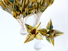 Paper Origami Cranes and Lilies