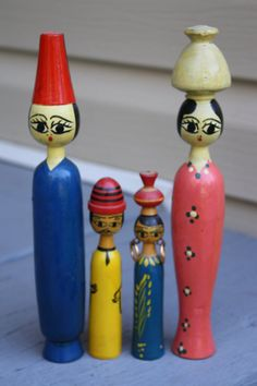 Vintage Egyptian Dolls Wooden Painted Family of by RomantiqueTouch
