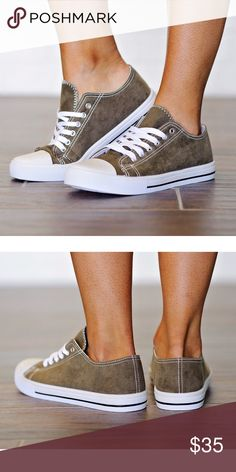 """Suede Dark Olive Sneakers These sneakers are what the rave is all about! Pair these with shorts, skinny jeans, tees, and sweaters! A total comfy chic look! These run true to size. low top sneaker features a rubber cap toe design, top stitching accents, cushioned insole, and lace up closure. 1"""" heel 1"""" platform. Available in mauve canvas  and charcoal gray also in my closet Lulupie Shoes Sneakers"""