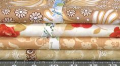 Stash Builder! Four 1-Yard Cuts in Shades of Light Brown, Tan, Gold, and Orange, Cotton Quilt Fabric Bundle for Sale, Blender Fabric by fabric406 on Etsy