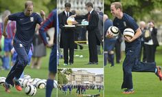 10-7-13.   Prince William hosts the first football match at Buckingham Palace