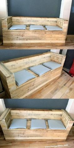 Need result-oriented lawn chairs or coffee tables?, explore majority of these pallet furnitureprojects and figure out what you may can create about virtually nothing! Pallet Home Decor, Pallet Patio Furniture, Wooden Pallet Projects, Pallet Couch, Diy Furniture Projects, Wooden Pallets, Pallet Chest, Pallet Ideas, Pallet Wood