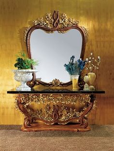 Antique Italian Furniture | antique italian furniture console and mirror in solid wood sumptuous ...