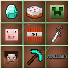 MINECRAFT Cupcake Toppers - Printable Minecraft Birthday Party. $6.00, via Etsy.
