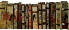 """Painted books from Odorico Pillone collection. From """"When Books Were Shelved Backwards,"""" article on Ephemeris blog."""