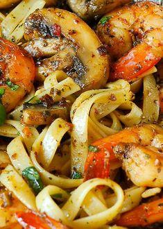 Skillet Toasted Penne with Cajun Shrimp - (Free Recipe below) Pesto Shrimp Fettuccine in Mushroom Garlic Sauce Shrimp Dishes, Pasta Dishes, Pasta Food, Food Food, Seafood Recipes, Cooking Recipes, Healthy Recipes, Shrimp Pasta Recipes, Recipes With Pesto