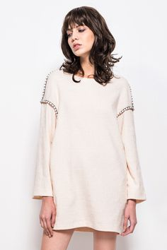 FRS Beige Cotton-blended Dress With Long Sleeve - FrontRowShop