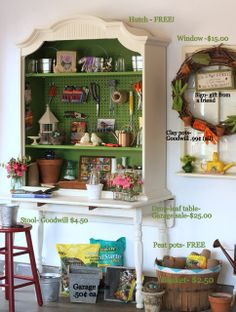 Neat homemade potting bench