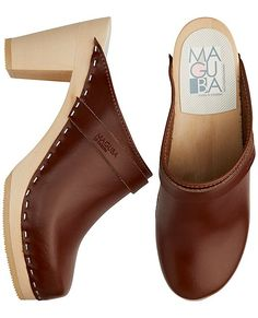 """Handcrafted Swedish modern clog slips on and off with ease and gives you the perfect amount of height. Contoured base for extra support and comfort. <br>•  Suede upper<br>• Alderwood base<br>• 3 ¾"""" heel<br>• Sweden<br><br>Runs true to size. In between sizes, please size up."""
