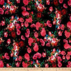 Designer Release Scuba Floral Prints Fuchsia/Black/Green