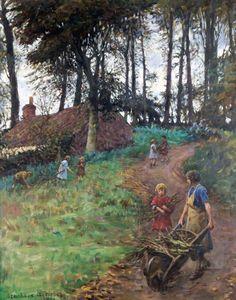 Stanhope Alexander Forbes (Irish painter) 1857 - 1957 A Country Lane (Woodgatherers) 1931