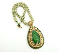 Sea sediment necklace  Green Amazon by Kankou on Etsy,