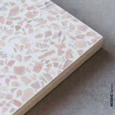 Salmon pink marble terrazzo tile with white cement background from Mosaic Factory's MARBLE 10 terrazzo collection with 9 different marble colour mixes to combine with 24 pigmente cement colours