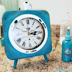 "Jess Sea on Instagram: ""@amberenrriques this turned out amazing!  #paintedclock #paint #diy #home #decor #design  #kitchen #decor #craft #craftyaf #lucky13…"""