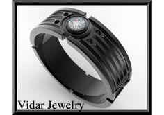 Star Wars 14k Black Gold Diamond Men's Wedding Ring - TheWeddingMile.com