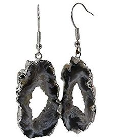Do you love the beauty of nature? These agate dangle earrings are slices from a geode (a stone with on open crystal pocket in the center), polished on both sides, with silver electroplate following the natural edge.   This variety of jewelry pendants and earrings comes from Brazil and makes wonderful, unique gifts. Visit the link to learn more.