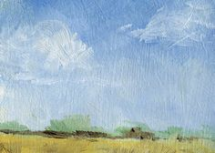 Summer Clouds Landscape - ACEO - etsy