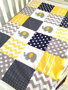 Elephant Baby Crib Quilt , In Navy , Gray And Yellow