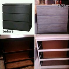 My second ikea hack another malm 3 drawer dresser gone from black brown, to old white shell and distressed old white and gray drawers. Love it.