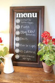 MENU Chalkboard Vinyl with days of the week vinly lettering (you choose the exact size). $12.00, via Etsy.