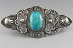 Vintage Native American Turquoise Jewelry | Vintage Navajo Silver and Turquoise Pin Brooch 1