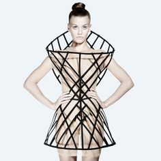 The Chromat Hyperbloid Dress is one of the centerpieces from the SUPERSTRUCTURES collection. The cage dress is a translation of the Hyperbloid mathematical formula [. Geometric Fashion, 3d Fashion, Weird Fashion, Fashion 2017, High Fashion, Fashion Outfits, Fashion Show, Fashion Design, Fashion Trends