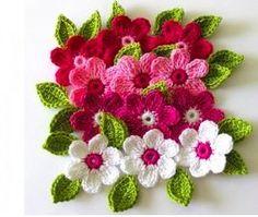 Crochet Flowers Design Free Crochet Patterns to Print Beau Crochet, Crochet Puff Flower, Knitted Flowers, Crochet Flower Patterns, Knit Or Crochet, Irish Crochet, Crochet Crafts, Crochet Projects, Knitting Patterns