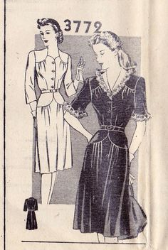 1940s Misses Dress Vintage Sewing Pattern by MissBettysAttic, $24.00