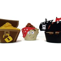 Pirate Ship Cupcake Wrappers  - set of 12. $18.00, via Etsy.