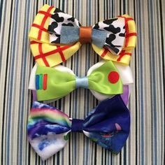 Disney bows Selling all three Disney bows: buzz lightyear, woody, and a stitch themed bow. Buzz and Woody I will sell as a bundle for $10. Will seek Stitch one for $5. Hot Topic Accessories Hair Accessories