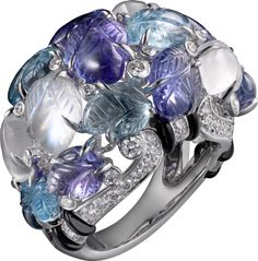 Cartier Engraved White Gold, Aquamarines, Tanzanites, Moonstones, Onyx & Diamond Ring