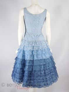 50s Party Dress Blue Lace Full Skirt Nip Waist- sm by Better Dresses Vintage