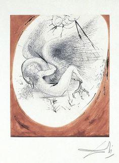 Leda and the Swan, Mythologie Suite, 1963 Leda i łabędź, akwaforta oraz kolorowanie ręczne; 50,5x40,5 cm  Leda (gr. Λήδα Lḗda, łac. Leda) – w mitologii greckiej królewna etolska, królowa Sparty, kochanka Zeusa, który uwiódł ją przyjmując postać łabędzia (...)  #salvadordali #salvadordalipolska