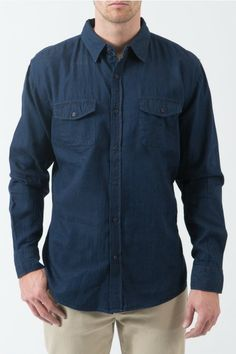 Easy Rider  Chambray Shirt in Dark Blue. Fit  Slim Fit Fabric  038c4ed3ad6a