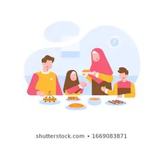 Find Moslem Family Eat Together Dining Table stock images in HD and millions of other royalty-free stock photos, illustrations and vectors in the Shutterstock collection. Family Vector, Islamic Cartoon, Eat Together, Flat Design Illustration, Islamic Images, Mobile Design, Royalty Free Stock Photos, Wallpaper Art, Resume Design