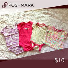 Girls onesies 4 pieces - 3 are onesies and one is a shirt. Purple is Carhartt. 2 pieces in the middle are Gerber. Tie dye shirt is Garanimals. Gerber One Pieces Bodysuits